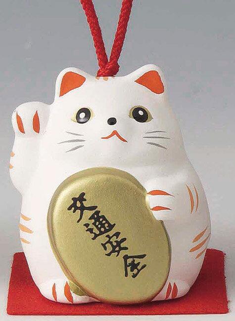 交通安全! 陶器製 風水招き猫 右手(右前脚)上げ 白色 高さ5.8cm まねきねこ Feng Shui Beckoning Cat Maneki Neko