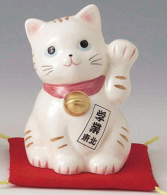 陶器製 豪華赤座布団乗り 風水 東北側置き学業成就招き猫 左手(左前脚)上げ 白色 高さ10cm まねきねこ Feng Shui Beckoning Cat Maneki Neko