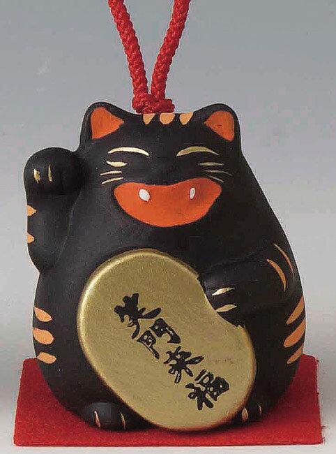 笑う門には福来る! 陶器製 笑門来福の風水招き猫 右手(右前脚)上げ 黒色 高さ5.5cm まねきねこ Feng Shui Beckoning Cat Maneki Neko
