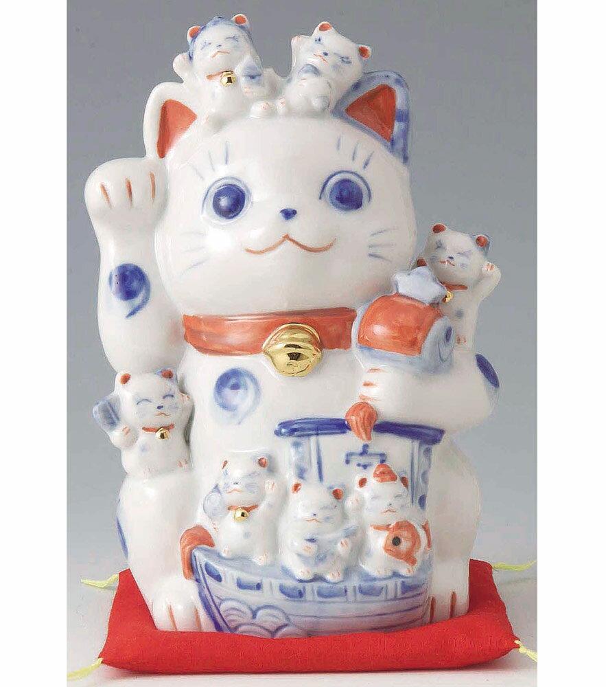 開運招福の縁起物、笑う門には福来る! 染付磁器製 打ち出の小槌持ち 招福猫づくし招き猫 ネコ高さ16.5cm Beckoning Cat Welcoming Cat Lucky Cat Fortune Cat