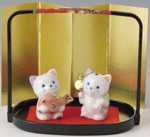 開運招福! 磁器製 染め付け 手提げ盆のり 染付招き猫 エビス・大黒型 〈縁起物 陶器の置物・お飾り 和のインテリア 七福神型招き猫 しちふくじん まねきねこ 恵比寿 え