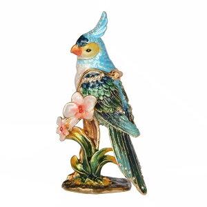 小鳥 置物 オカメインコ オウム 鳥 小物入れ ジュエリーネックレス ピューター オブジェ 飾り 像 人形 工芸品 エナメル 鳥好き