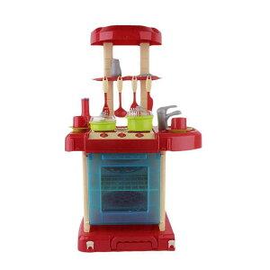 3050 多機能 おままごとキッチン セット 知育玩具 レッド 新品【領収発行可】