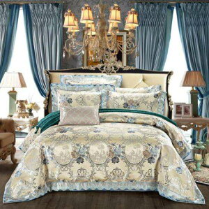 高級布団カバーセット(布団カバー×1 ベッドシーツ×1 枕カバー×2) 刺繍 ヨーロッパスタイル シルク/綿 寝具セット