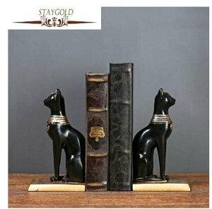 古代エジプト バステト 猫の女神 ブックエンド 本立て ねこ ネコ【領収発行可】