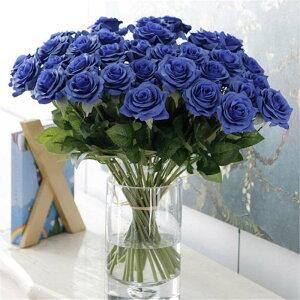 新品 大量25本 バラ 高級造花 アートフラワー シルクフラワー 花束 薔薇 ローズ アレンジメント ブーケ プレゼント お祝い 結婚式 青