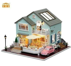 【税込】 LED付 木製ドールハウス 手作りキット ログハウス お家 DIY ミニチュア 3Dパズル おもちゃ【領収発行可】