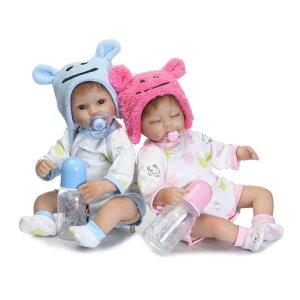 リボーンドール リアル赤ちゃん人形 ハンドメイド海外ドール 衣装とおしゃぶり・哺乳瓶付き クマ耳帽子 ブルーorピンク