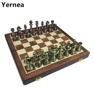 チェスセット チェスボード レトロ クラシック 木製 知的ゲーム チェス盤 チェス駒(合金製)【領収発行可】