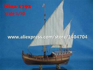 C1970 イタリア 帆船 コロンブス 遠征 フリートニーナ 1792 1/50スケール 船 ボート 木製 模型 プラモデル キット 組み立て式