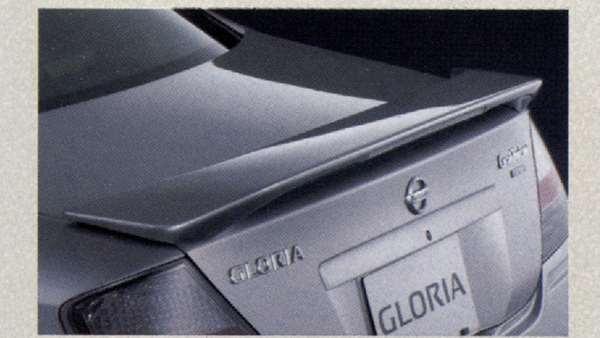 『グロリア』 純正 MY34 リヤスポイラー(ハイマウントストップランプ付) 『廃止カラーは弊社で塗装』 #QX1 ホワイトパール パーツ 日産純正部品 ルーフスポイラー リアスポイラー GLORIA オプション アクセサリー 用品