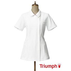 【10%オフクーポン配布中】Triumph(トリンプ)白衣 TPF-112-WH 女性用 チュニック ジャケット | レディース エステ ユニフォーム ナース服 おしゃれ 制服 医療 大きいサイズ 整体 手術着 ナース 服 ジップ 看護服 看護師 ナースウェア 半袖 施術服 医療用 理容師 施術着