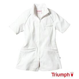 Triumph(トリンプ)白衣 TXM-105-WH 女性用 チュニック ジャケット| レディース エステ ユニフォーム ナース服 医師 おしゃれ 制服 医療 大きいサイズ 手術着 ナース ジップ 看護服 看護師【ラッキーシール対応】