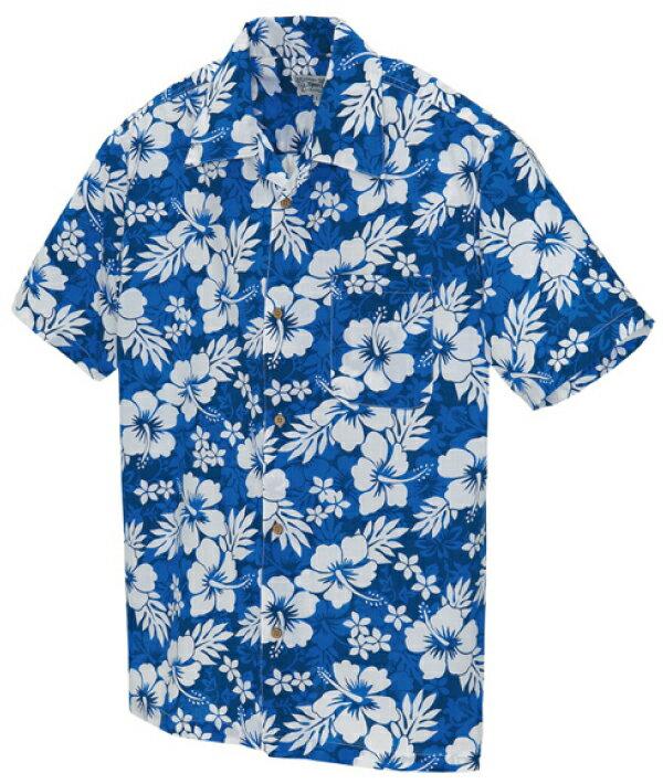 アロハシャツ メンズ レディース ハイビスカス柄 青(ブルー)人気 大きいサイズ おしゃれ| ユニフォーム 半袖 男性 シャツ 制服 作業服 夏用 夏 作業着 アロハ ハイビスカス 花柄 クールビズ 男女兼用 夏服 ハワイアンシャツ xl 花柄シャツ フラワー柄 ハワイアン