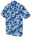アロハシャツ 激安 メンズ レディース ハイビスカス柄 青(ブルー)人気 クールビス 大きいサイズ おしゃれ| アロハ …