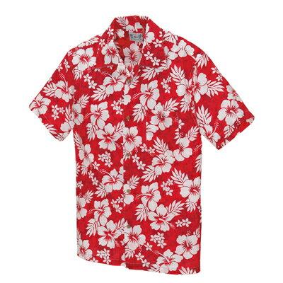 アロハシャツ メンズ レディース ハイビスカス柄 赤(レッド)人気 半袖 大きいサイズ おしゃれ | ユニフォーム 男性 シャツ 制服 作業服 夏 作業着 アロハ ハイビスカス 花柄 クールビズ 男女兼用 ハワイアンシャツ xl 花柄シャツ フラワー柄 夏服 サマーシャツ