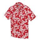 アロハシャツ 激安 メンズ レディース ハイビスカス柄 赤(レッド)人気 クールビス 半袖 大きいサイズ おしゃれ| アロ…