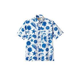 FB4541U アロハシャツ ハワイアンシャツ 貝殻 シェル レトロ ボンマックス BONMAX オレンジ ネイビー| ユニフォーム レディース 大きいサイズ メンズ おしゃれ シャツ 制服 作業服 夏用 夏 作業着 アロハ 業務用 男女兼用 貝 半袖 xl 花柄シャツ 夏服 サマーシャツ