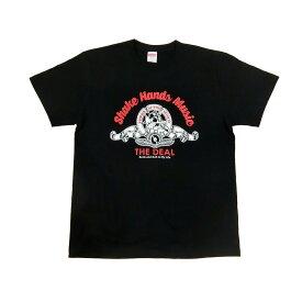 海賊猫のボーカル 歌うパイレーツキャット Tシャツ【Sサイズ】[ブラック/スカーレット] Shake Hands Music
