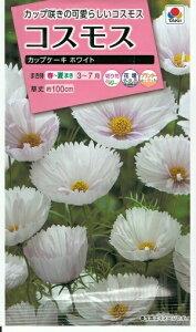 花種子 『 タキイ種苗 』コスモス カップケーキホワイト0.5ml袋詰 【 送料無料 】
