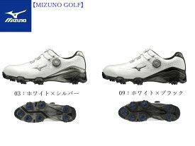 【Mizuno GOLF=ミズノ ゴルフ】ゴルフシューズ ゴルフ【ジェネム009ボア EEE(ゴルフ)】[メンズ]【ホワイト×シルバー】【ホワイト×ブラック】(24.0〜28.0、29.0cm)(シューズ幅3E相当の方向け)