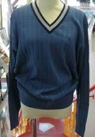 【Mizuno THE OPEN~ミズノ】ゴルフウェア(紳士)(コットン長袖V首セーター)<カラー:ディープブルー/サイズ:L/LL>