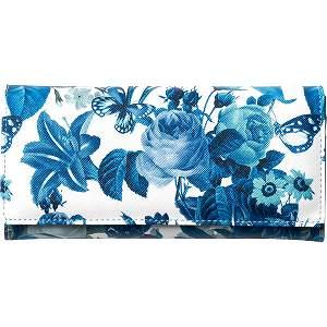 ボタニカルフラワー長財布(ブルー)〈S−NOL163033BL〉