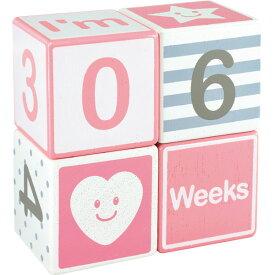 アイムトイ マイルストーンエイジブロックス≪ピンク≫〈IMー00012〉 ギフトセット/出産祝い お祝い プレゼント 贈り物 自分への贈り物 [WーTE](be)