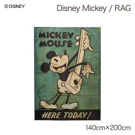 日本製 ミッキーマウス ディズニー ラグマット 長方形 ホットカーペット対応 床暖房対応 おしゃれ かわいい デザイン おすすめ オールシーズン ヴィンテージ調 レトロ 大人 ミッキー グッズ 誕生日 プレゼント 雑貨 インテリアラグ disney 約140x200cm MICKEY Music RUG