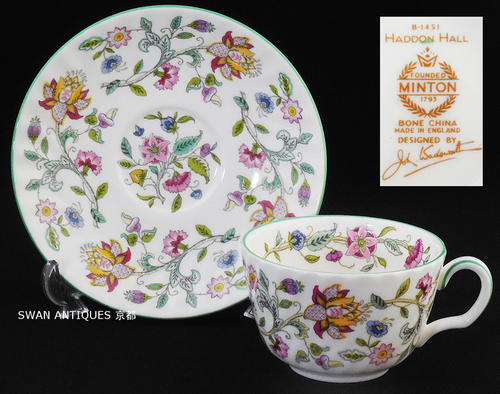 英国製イギリス ミントン Minton ハドンホール グリーン カップ&ソーサー 未使用 廃盤品