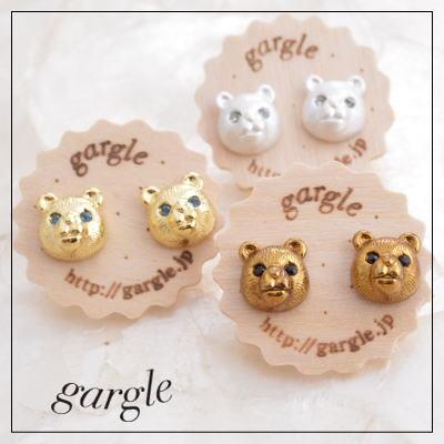 gargle ガーグル ピアス bears スワロフスキーの目のかわいいクマのアクセサリー メール便可能 熊 くま q0608