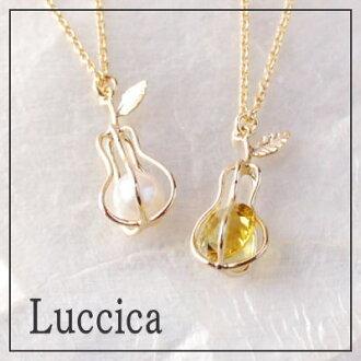 在ruchika Luccica pere cage一对盒项链新颜色珍珠补充★洋梨的形状的筐子里的刻花玻璃闪闪发光! 能梨子水果礼物礼物配饰包免费女士10P18Jun16