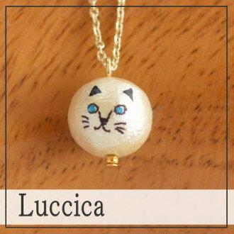 Ruchika Luccica 動物臉貓項鍊 (只有互換) 貓貓可愛時尚棉珍珠大貓貓貓咪珍珠配件 P20