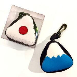おにぎりと富士山の小物ケース Rice ball pouch カラビナ付き おにぎり入れ 富士山 梅干し オニギリ 富士 RUSTIC by the sea