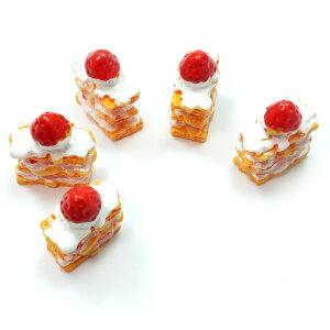 イチゴのミルフィーユ 5個セット★スイーツデコパーツ いちご 苺 ケーキ ストロベリー