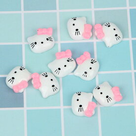 ピンク色のリボンをつけたネコのお顔貼り付け用パーツ プラスチック製 5個セット☆デコ電にも! ねこ 猫