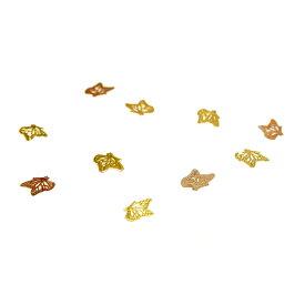 レジンやネイルアートに!「花に止まるバタフライ」 極薄メタルパーツ 10枚セット 蝶 ちょうちょ