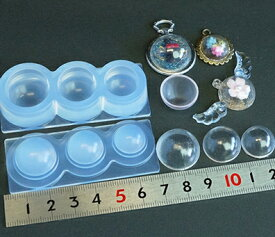 (S245) シリコンモールド 球体 ガラスボール ドーム M 3サイズ 空洞 半球 立体 3D ビー玉 シャボン玉 レジンや樹脂粘土での作成に