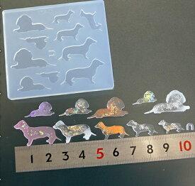 (S413)シリコンモールド アニマルモチーフ ダックスフンド ドッグシルエット 犬 10サイズ