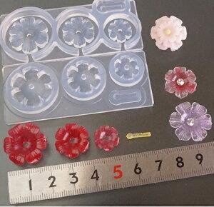 (S427)シリコンモールド 6花弁 フラワー型 立体 3サイズ 花 花芯型付き ボリューム ミニチュアガーデン レジンや樹脂粘土での作成に
