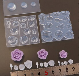 (S567)シリコンモールド フラワー型 ローズ 薔薇 花びら ペタル 立体 パーツ レジンや樹脂粘土での作成に