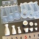 (S721)シリコンモールドキッチン雑貨とっくり&おちょこ酒器セット徳利お猪口3D立体
