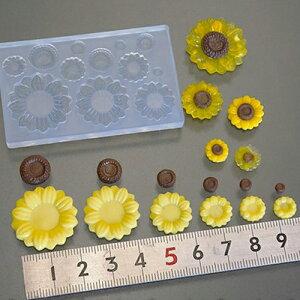(S891)シリコンモールド ひまわり サンフラワー 6サイズ 夏の花 ミニチュアガーデン レジンや樹脂粘土での作成に