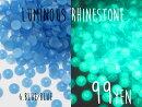 (750)ルミナスラインストーン6.ブルー・ブルー3mm30粒ネイルにも(蓄光)