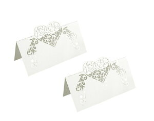 (yk20)雑貨 メッセージカード テーブルネームカード ●テーブルネームカード★ホワイトパールハート★ 10枚入り テーブルデコレーション 座席札