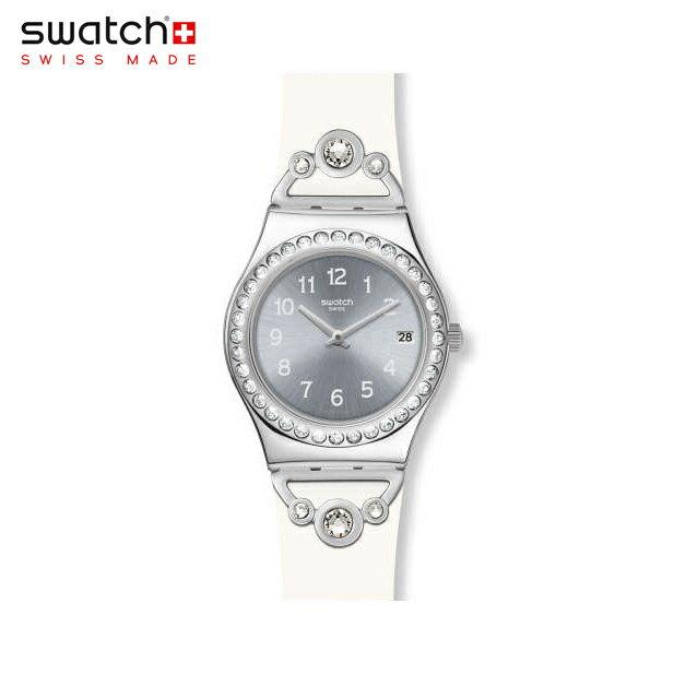 【公式ストア】Swatch スウォッチ PRETTY IN WHITE プリティ・イン・ホワイト YLS463irony(アイロニー) Irony Medium(アイロニーミディアム) 【送料無料】(素材)ベルト:ゴム製 ケース:ステンレススチールレディース 腕時計 人気 定番 プレゼント
