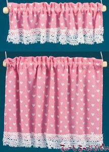 ミニチュア  米国製  バーバラさんのカーテン  コテージカーテン 2サイズセット ナーサリーハート ピンク BB50414 ドールハウス用