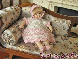 ミニチュア  Heidi Ott  ハイジオットドール 幼児 ピンクボンネット HO-XB508 ドールハウス用
