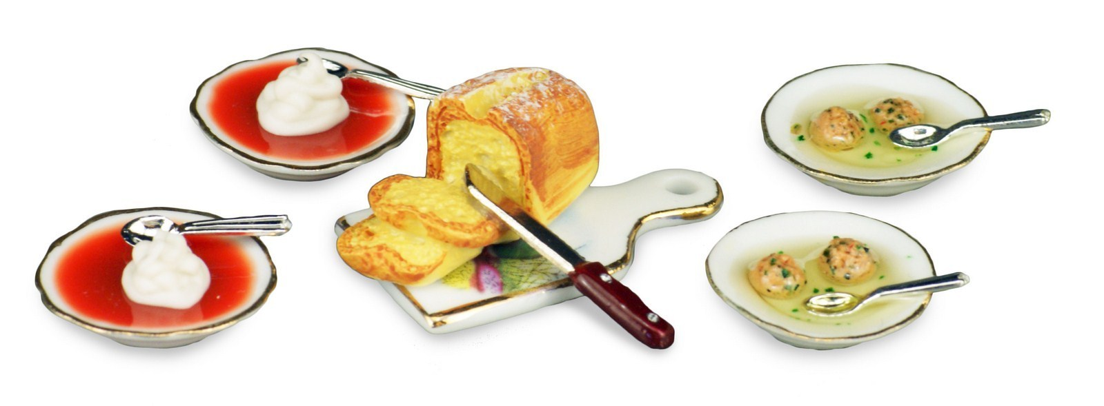 ミニチュア 【ロイターポーセリン】 ダンプリング&トマトスープセット RP1452-8 ドールハウス用