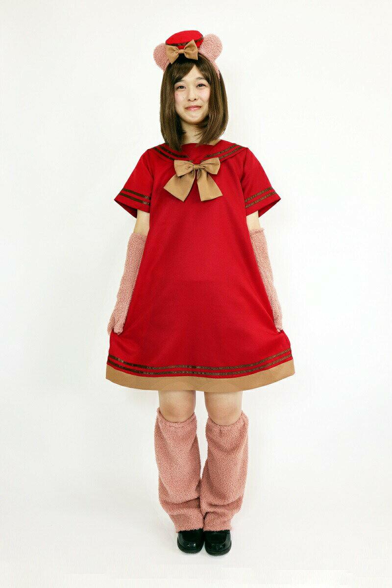 sweet devil【くまさん 4点セット】レディース カップル 双子 コスプレ ハロウィン レッド 赤 Mサイズ